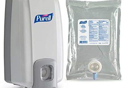 PURELL Advanced Hand Sanitizer NXT Starter Kit, 1 – 1000 mL Hand Sanitizer Gel Refill + 1- PURELL NXT SPACE SAVER Dove Grey Push-Style Sanitizer Dispenser – 2156-D1